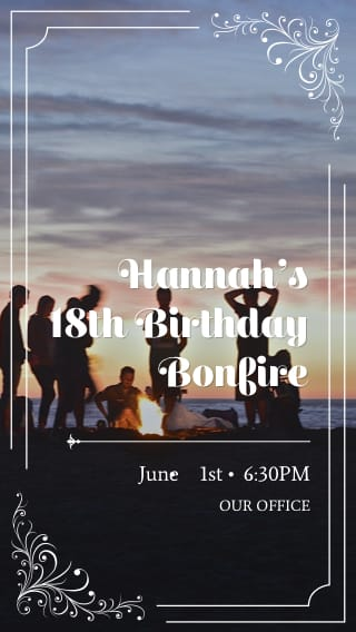 Text Message Invite Designs for Bonfire 18th Birthday Party