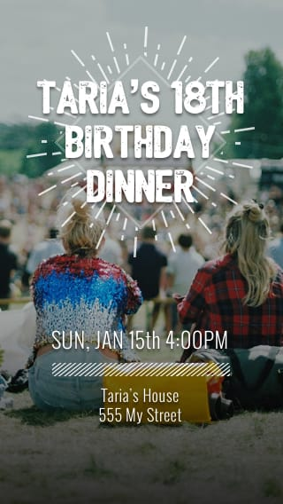Text Message Invite Designs for Dinner 18th Birthday Party