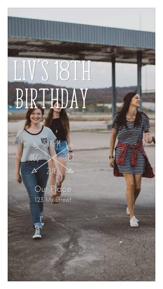 Text Message Invite Designs for Girls 18th Birthday Party