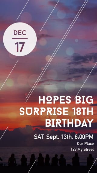 Text Message Invite Designs for Surprise 18th Birthday Party