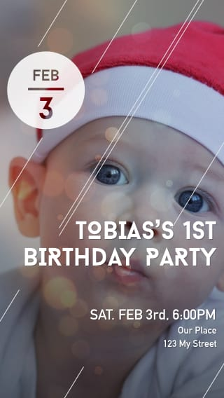 Text Message Invite Designs for Santa Hat 1st Birthday Party