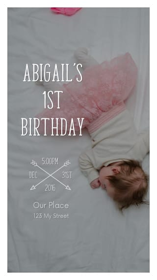 Text Message Invite Designs for Sleeping 1st Birthday Party
