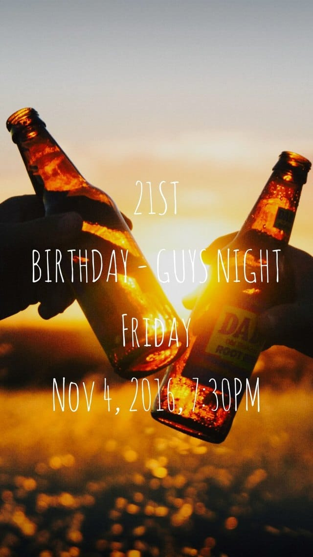 Text Message Invite Designs for First Beer 21 Birthday Party