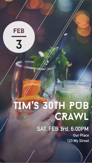 Text Message Invite Designs for 30th Birthday Bar Crawl