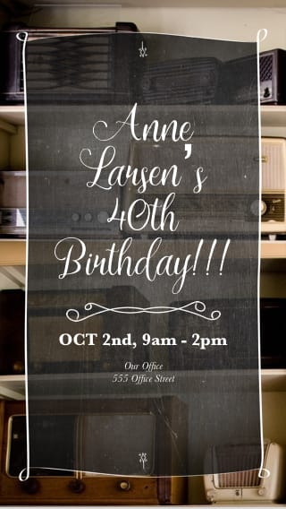 Text Message Invite Designs for Vintage 40th Birthday Party