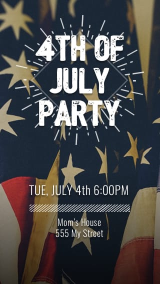 Text Message Invite Designs for 4th of July Party