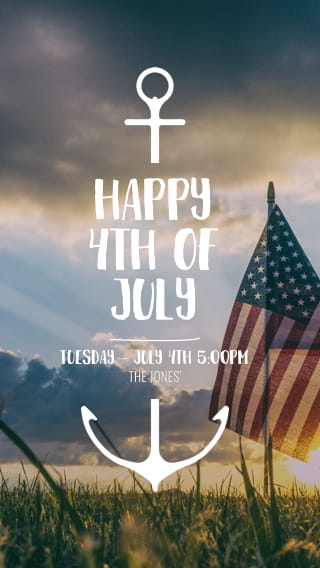 Text Message Invite Designs for Happy 4th of July American Flag