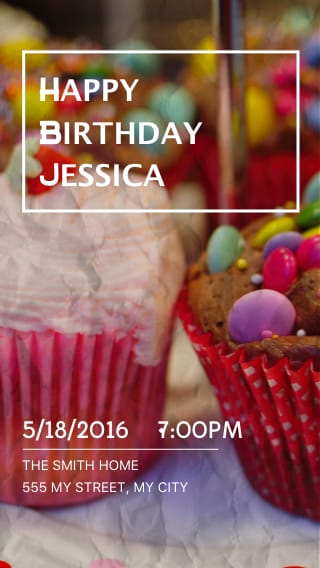 Text Message Invite Designs For Cupcake Birthday Party