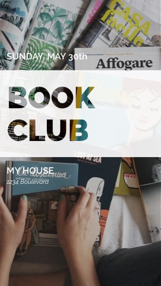 Text Message Invite Designs for Book Club Meeting
