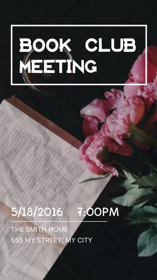 Text Message Invite Designs for Monthly Book Club Meeting