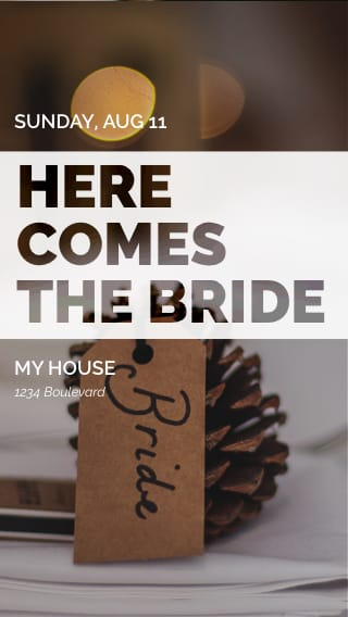 Text Message Invite Designs for Here Comes The Bride