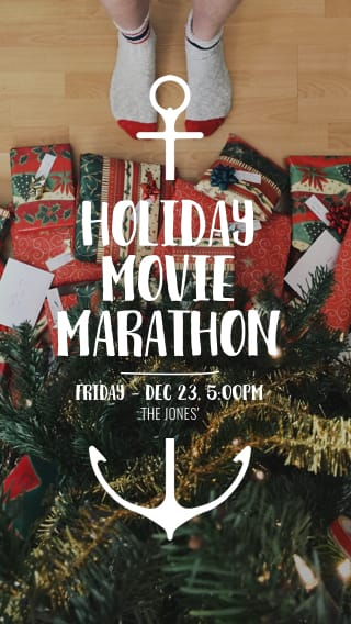 Text Message Invite Designs for Holiday Movie Marathon