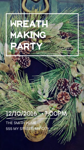 Text Message Invite Designs for Wreath Making Party