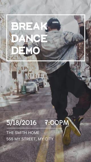 Text Message Invite Designs for Break Dance Demo