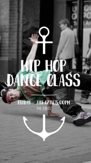 Text Message Invite Designs for Hip Hop Dance Class