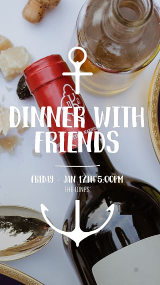 Text Message Invite Designs for Wine and Dinner with Friends