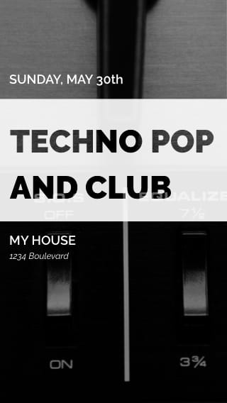 Text Message Invite Designs for Techno Pop and Club Night