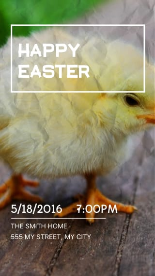 Text Message Invite Designs for Happy Easter Chick