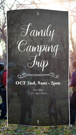Text Message Invite Designs for Family Camping Trip