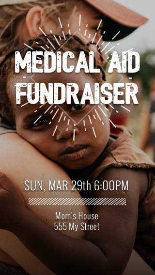Text Message Invite Designs for Medical Aid Fundraiser