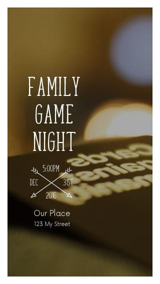 Text Message Invite Designs for Family Game Night