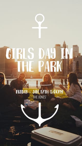 Text Message Invite Designs for Girls Day in the Park