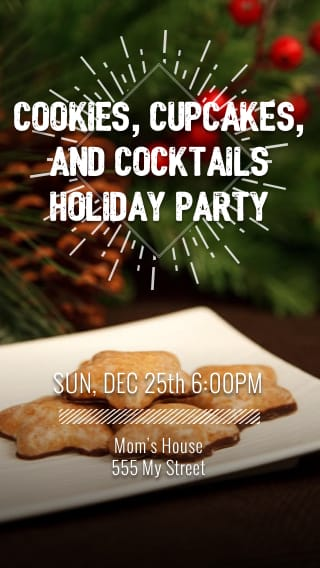 Text Message Invite Designs for Cookies and Cocktails Holiday Party