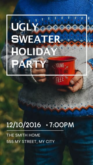 Text Message Invite Designs for Ugly Sweater Holiday Party