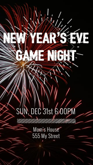 Text Message Invite Designs for New Year's Eve Game Night