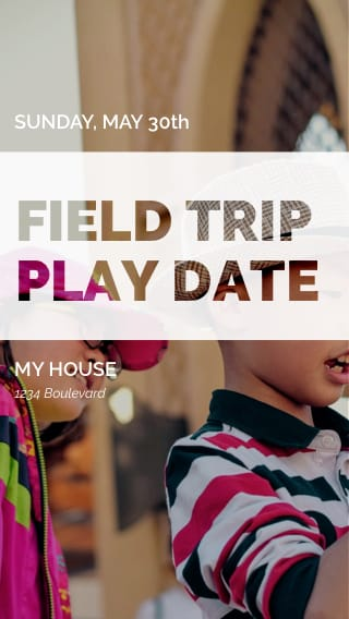 Text Message Invite Designs for Field Trip Play Date