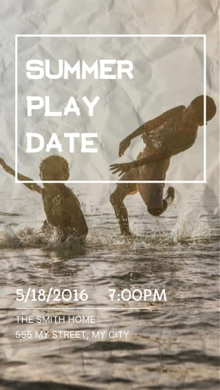 Text Message Invite Designs for Summer Play Date