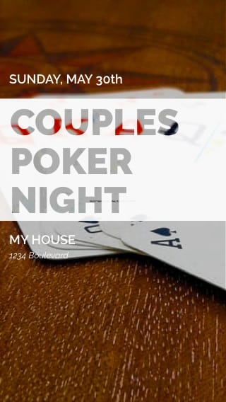 Text Message Invite Designs for Couples Poker Night