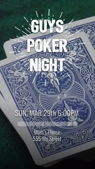 Text Message Invite Designs for Guys Poker Night