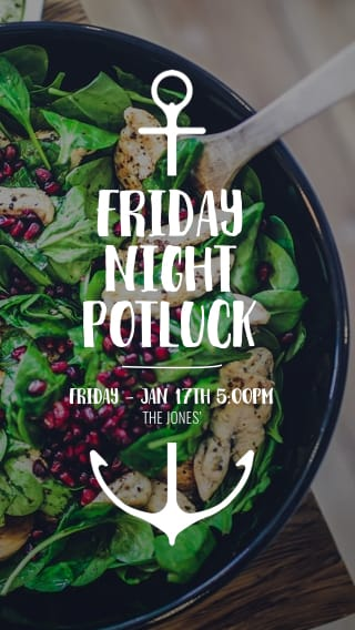 Text Message Invite Designs for Friday Night Potluck