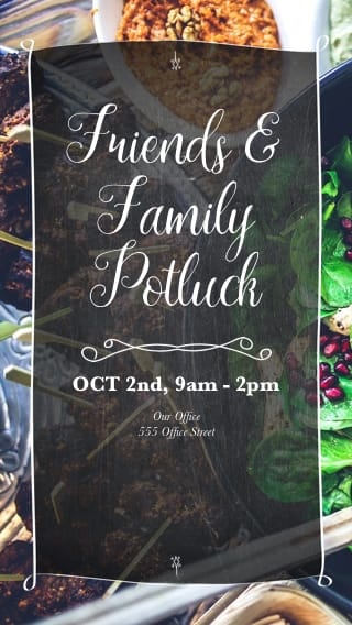 Text Message Invite Designs for Friends and Family Potluck