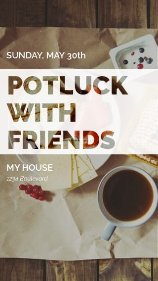 Text Message Invite Designs for Potluck with Friends