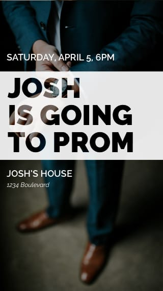 Text Message Invite Designs for Josh is going to Prom
