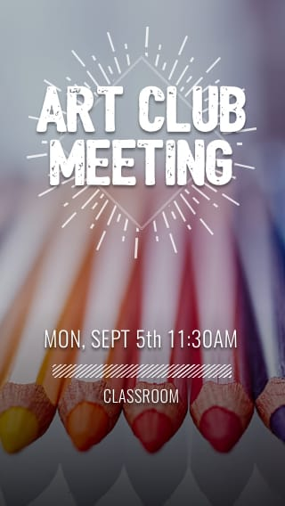 Text Message Invite Designs for Art Club Meeting