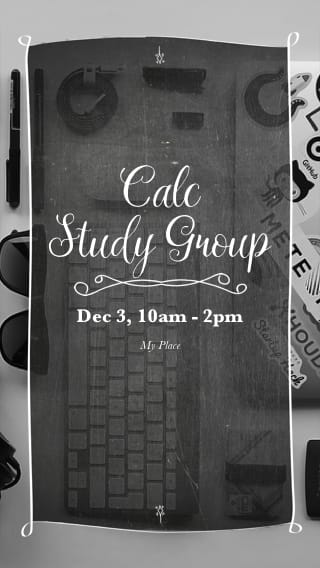 Text Message Invite Designs for Calc Study Group