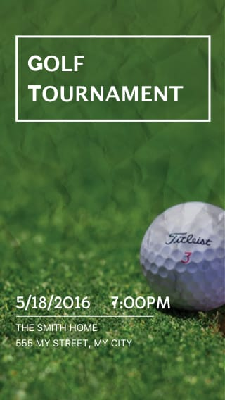 Text Message Invite Designs for Golf Tournaments
