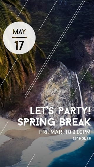 Text Message Invite Designs for Let's Party Spring Break
