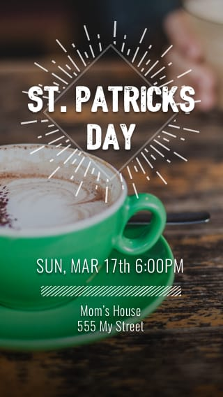 Text Message Invite Designs for St. Patrick's Day Irish Coffee Brunch