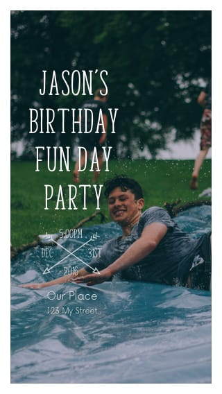 Text Message Invite Designs for Teen Birthday at the Park