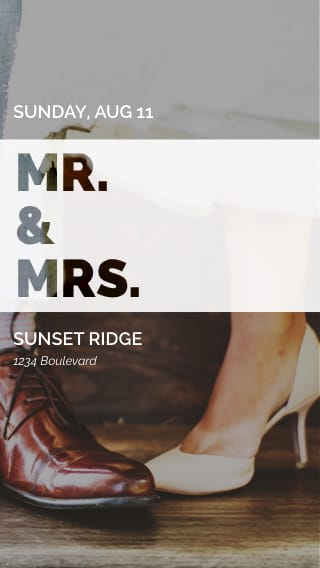 Text Message Invite Designs for Mr. and Mrs. Reception