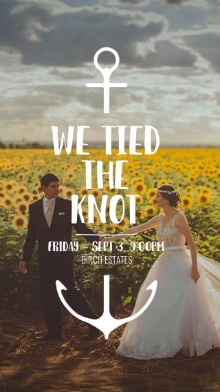 Text Message Invite Designs for We Tied the Knot
