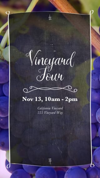 Text Message Invite Designs for Vineyard Grapes Tour