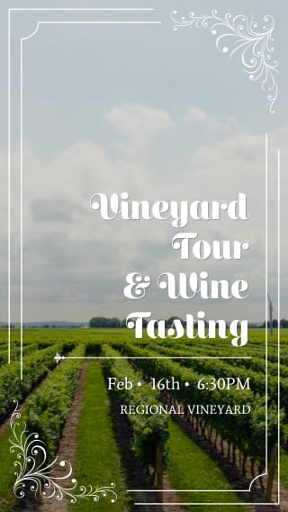 Text Message Invite Designs for Vineyard Tour and Wine Tasting